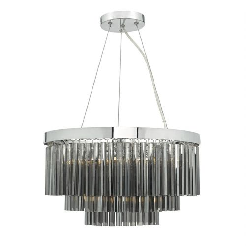 Giovana 5 Light 3 Tier Pendant Polished Chrome/ Smoked